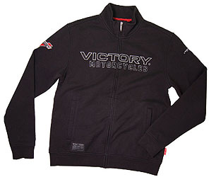Worn under a jacket while riding or by itself around town, this zip thrudelivers unmatched multi-season comfort.FABRIC: 70% cotton, 30% polyester Polycotton fleece-back fabric;peach finish; 380 gsm; 11.21 oz/yardGRAPHICS: Applique Victory logo on