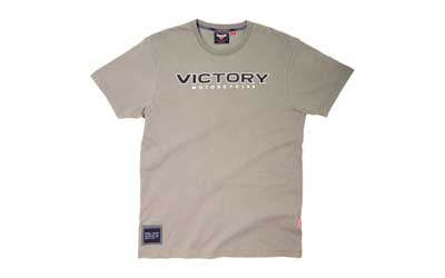 Fabric: 100% cotton single jersey, 180 gsm 5.3oz./yard; garment wash Graphics: Discharge print of Victory logo and star-spangled 106 on the front, FREEDOM on the back and Victory logo on the left sleeveNOTE: Sizes M, XL-3XL available Winter 2012. C
