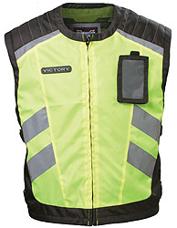 A high visibility vest in bright fluorescent and night reflective panels.Compliant for use on U.S. military bases.SHELL: 100% polyesterPOCKETS: 1 removable ID exterior and 1 interior pocketADJUSTABILITY: Adjustable Velcro side strapsLINING: 100%