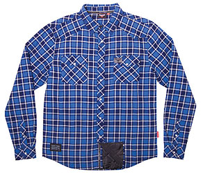 Mix it up with this plaid shirt that feels good and looks better with snap pearl buttons. Lined for extra warmth.Fabric: 100% cotton plaid shirt, peach finishGraphics: Woven chest labels, badge logo on back, snap buttons