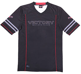 This Sports Jersey is loaded with winning Victory style. Its a comfortable jersey with multiple sleeve stripes, contrasting vertical piping on the front and back, and Victory branding on the front and both sleeves. On the back is the legendary Victory eng