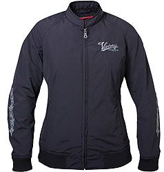 The feminine cut of this jacket leaves plenty of room for layering withoutaffecting the classic look.SHELL: Water-resistant nylonPOCKETS: 2 exterior and 2 interior pocketsADJUSTABILITY: Elastic wrist and waistFIT: V-Twin FitADDITIONAL FEATURES: