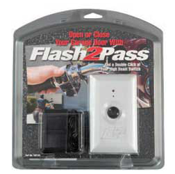 The Flash2Pass is the ultimate garage door opener for your motorcycle, ATV, scooter, Rhino, snowmobile, car, or any other vehicle with High/Low beam headlights. A simple double flash of your headlight high beams opens or closes your garage door. No remote