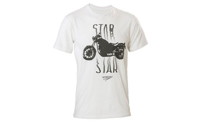 A fitted, super soft T-shirt made from 100% combed cotton jersey for an extra comfortable fit. Features the 2014 Bolt from Star Motorcycles image and a screenprinted Star graphic.