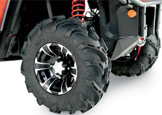 SUPER AGGRESSIVE MUD/TRAIL TIRE/WHEEL KITSThe nastiest, most aggressive mud/trail tire ever unleashed by ITP meets the most desirable wheel on the marketDeep-lug tread pattern with an intimidating look; tears through mud holes and handles well on hard