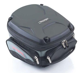 Expandable tank bag offering up to 20 liters capacity. Installed via tank bag harness A9510083. Features Triumph branded glove friendly zip pulls, reversed zip tracks, separate rain cover, detachable map pocket with fully lined base and lid.