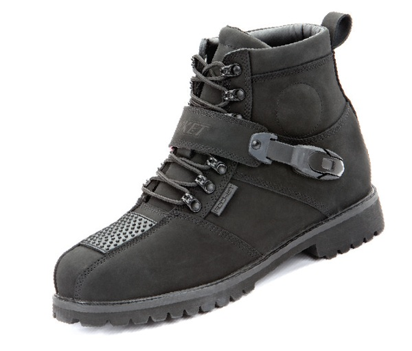 2mm, full grain, matte finish leather constructionMolded polymeric ankle protectionPolymeric ratchet adjustment strap with aluminum quick-lock buckle mechanishReinforced shifter zoneTriple stitching in all stress areasNo slip sole designPadded ankle cuff f
