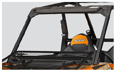 Versatile, adjustable windshield lets riders customize airflow and protectionWindshield can be closed (up position) for full coverage, opened slightly for airflow, or laid flat on hood (wide open)Enhances rider comfort, protection and visibility in all