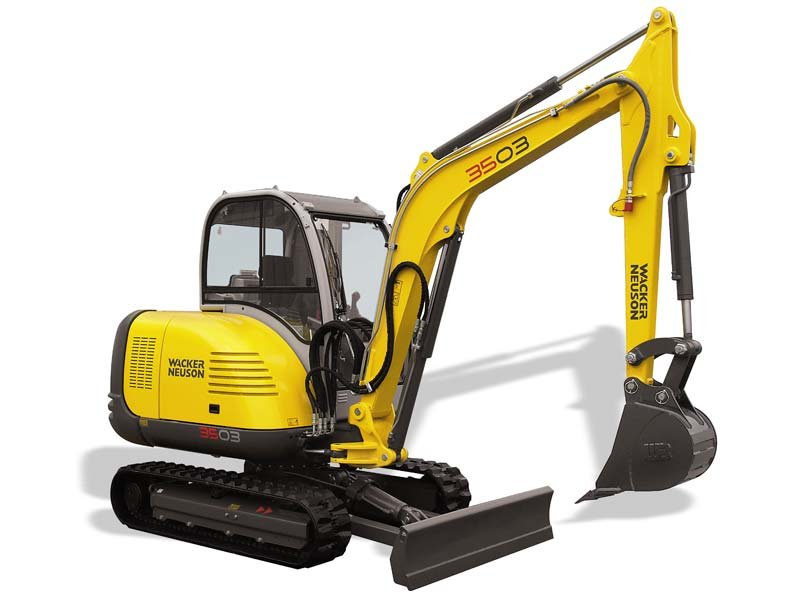 Mini-Excavator with push blade, thumb, and 2 buckets