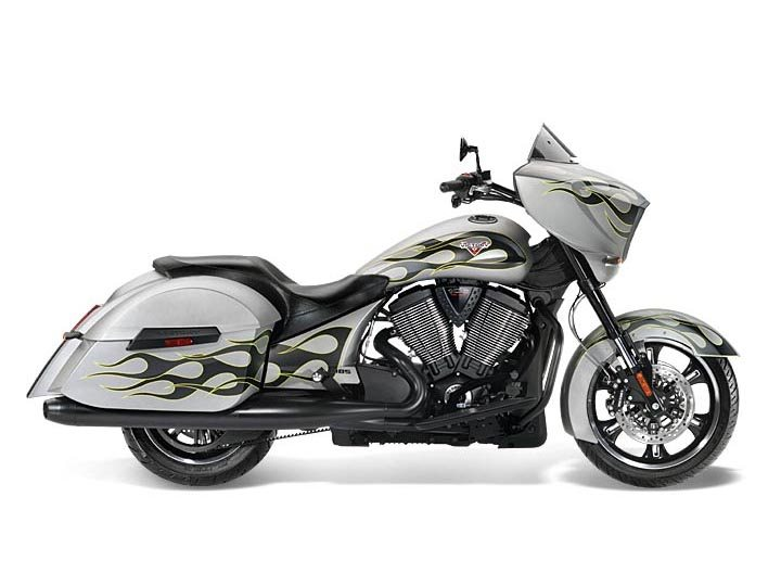 2014 Victory Cross Country® Suede Silver with Flames